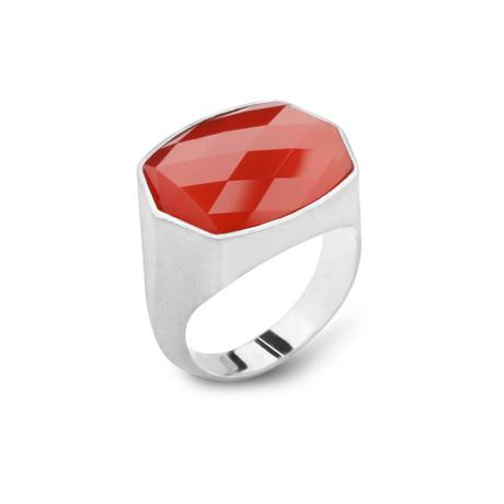 Sterling Silver + Carnelian Ring