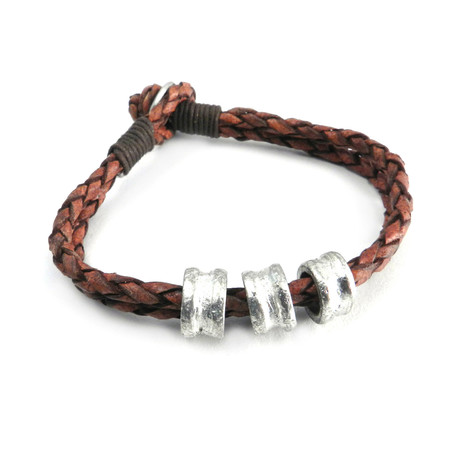 Double Row Leather + Bead Bracelet