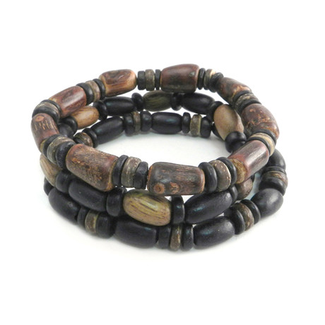 Wood Coco Bamboo Bracelet // Set of 3