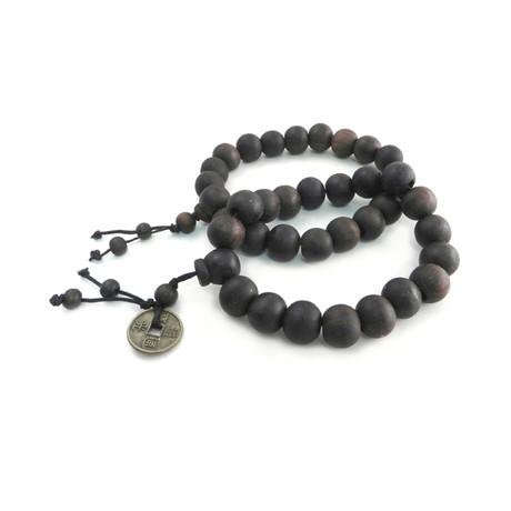 Wood Bead + Coin Bracelet // Set of 2