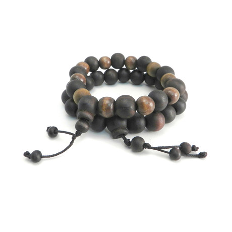 Wood Bead Bracelet // Brown // Set of 2