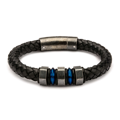 Braided Leather Bracelet // Black + Steel