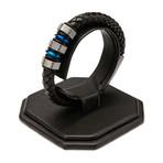 Braided Leather Bracelet // Black + Steel