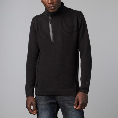 Mixed Texture Zip Henley Pullover // Black