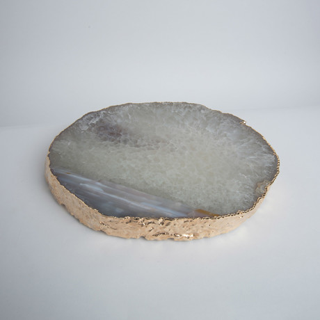 Agate Trivet + Gold Rim // Thick (Natural)