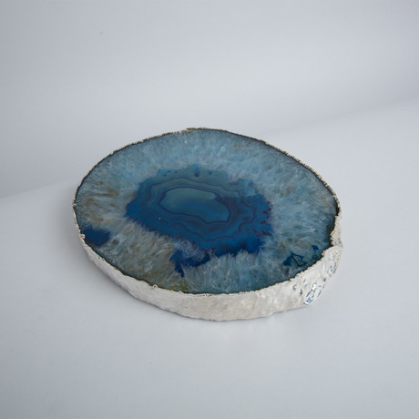 Agate Trivet + Silver Rim // Thick (Natural)