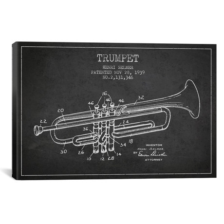 Trumpet Patent Blueprint // Charcoal