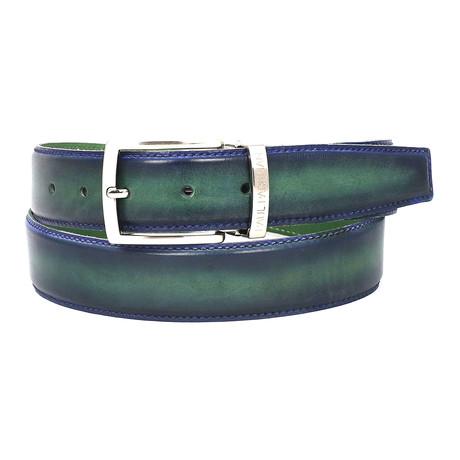 Dual Tone Leather Belt // Blue + Green