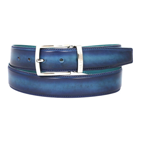 Dual Tone Leather Belt // Blue + Turquoise (S)