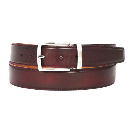 Hand-Painted Leather Belt // Dark Bordeaux