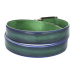 Dual Tone Leather Belt // Blue + Green (S)