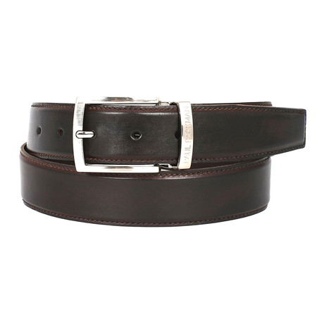 Hand-Painted Leather Belt // Dark Brown