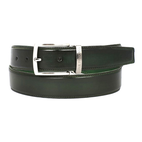 Hand-Painted Leather Belt // Dark Green