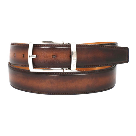Hand-Painted Leather Belt // Brown + Camel