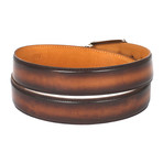 Hand-Painted Leather Belt // Brown + Camel (S)
