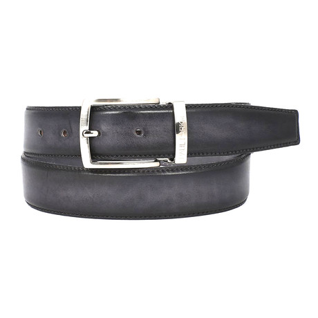 Dual Tone Leather Belt // Grey + Black