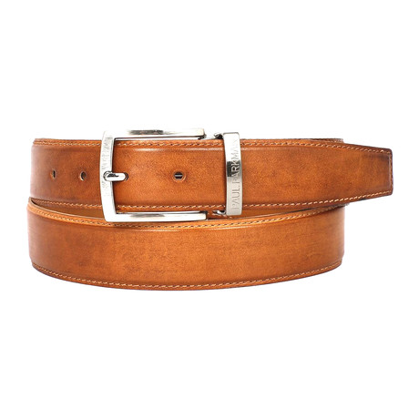 Hand-Painted Leather Belt // Tobacco
