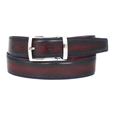 Dual Tone Leather Belt // Navy + Bordeaux