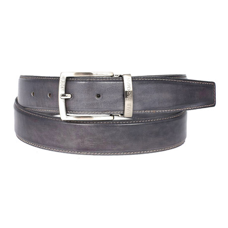 Hand-Painted Leather Belt // Grey