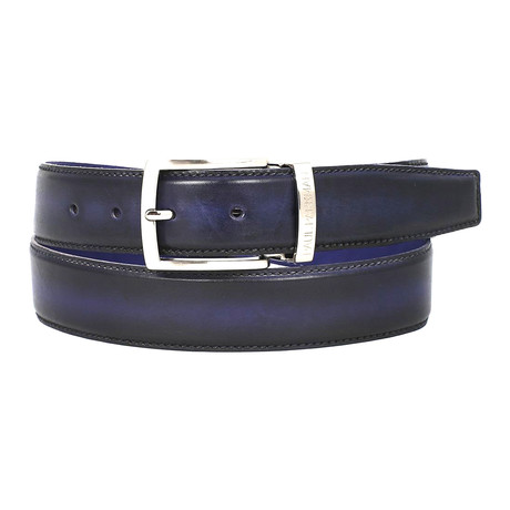 Dual Tone Leather Belt // Navy + Blue