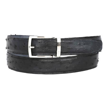 Geniuine Ostrich Belt // Black (S)