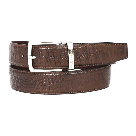 Crocodile Embossed Calfskin Leather Belt // Brown (S)