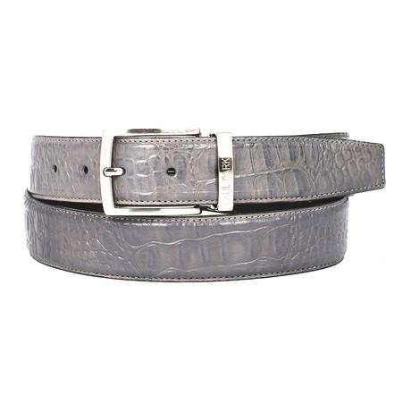 Crocodile Embossed Calfskin Leather Belt // Grey