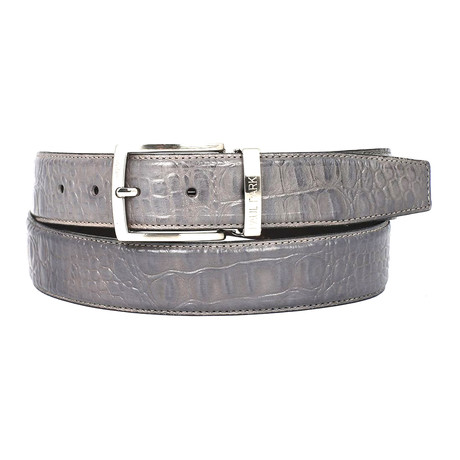 Crocodile Embossed Calfskin Leather Belt // Grey (S)