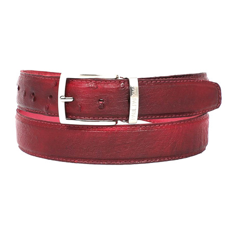 Genuine Ostrich Belt // Burgundy (S)