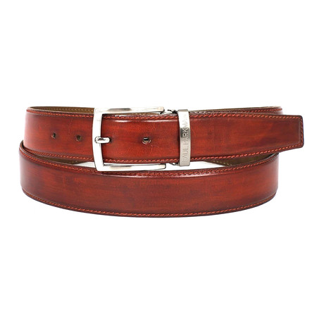 Hand-Painted Leather Belt // Reddish Brown (S)