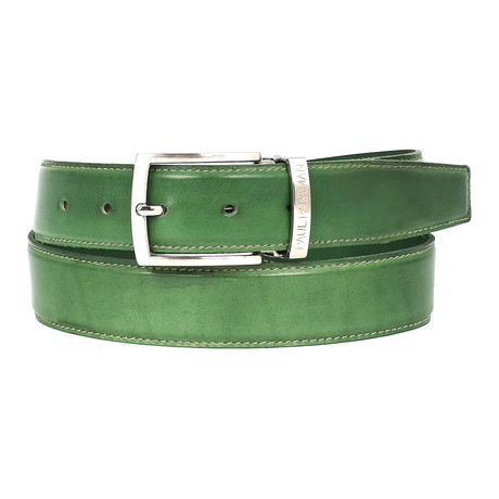 Hand-Painted Leather Belt // Green
