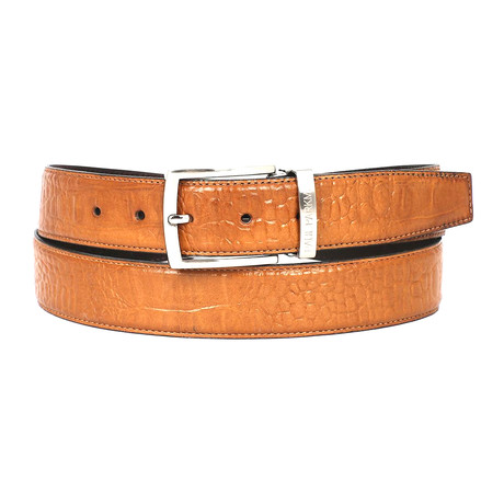Crocodile Embossed Calfskin Leather Belt // Camel (S)