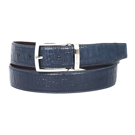 Crocodile Embossed Calfskin Leather Belt // Navy