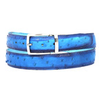 Genuine Ostrich Belt // Ocean Blue (S)