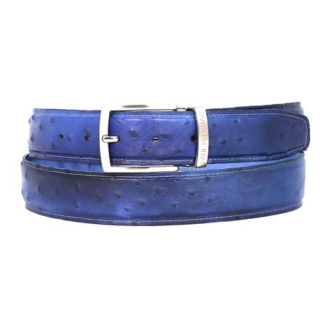 Geniuine Ostrich Belt // Blue (S)