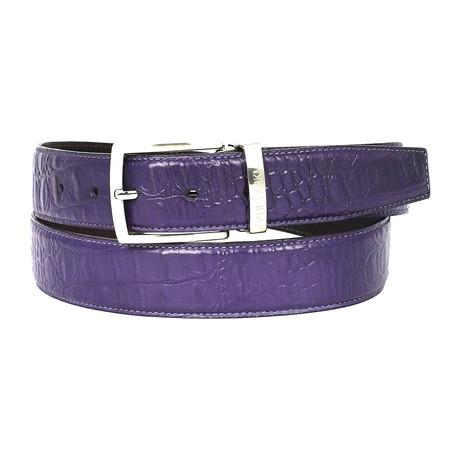 Crocodile Embossed Calfskin Leather Belt // Purple