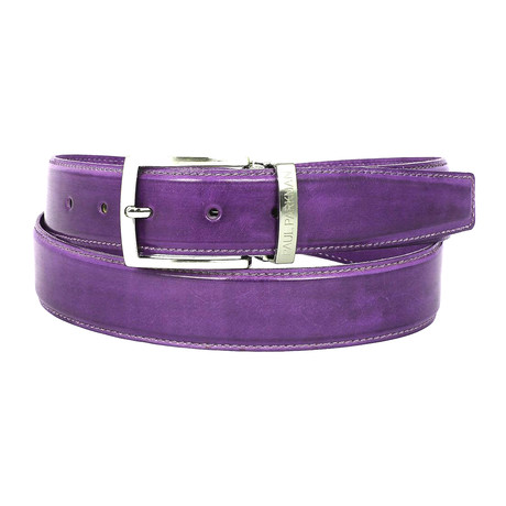 Hand-Painted Leather Belt // Purple