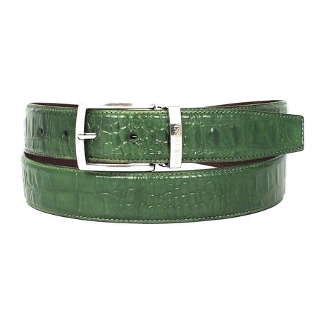 Crocodile Embossed Calfskin Leather Belt // Green