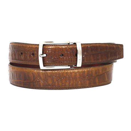 Crocodile Embossed Calfskin Leather Belt // Olive