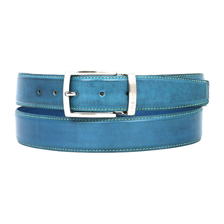 Hand-Painted Leather Belt // Sky Blue