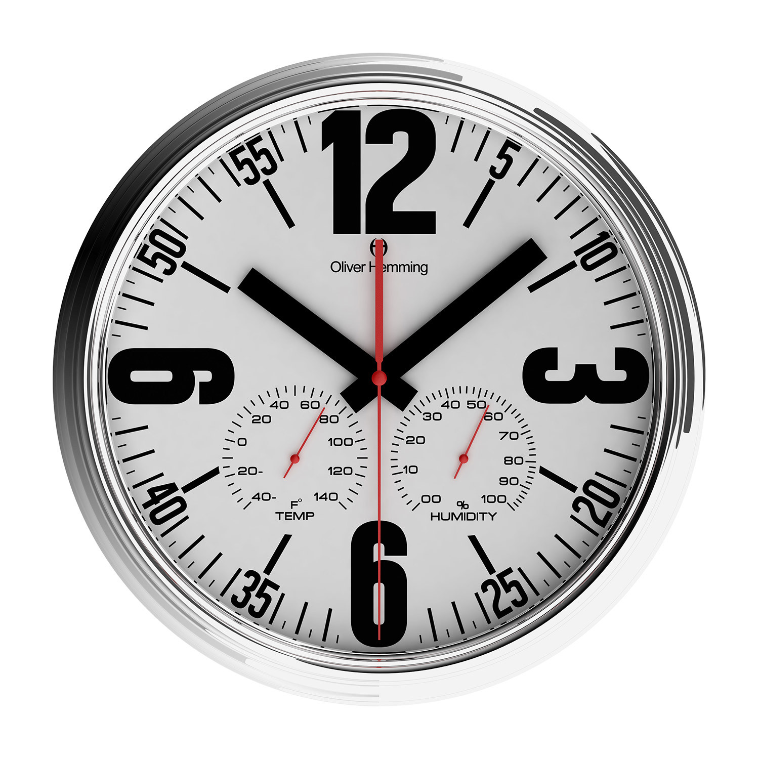 14 Quot Chrome Weather Station Wall Clock W360s65wf
