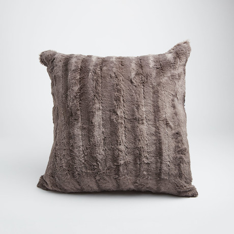 "Chinchilla Stripe Cuddle Fur Pillow // Charcoal (14""L x 20""W)"