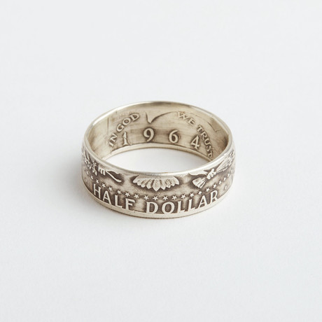 Cruger Coin Rings // Silver 1964 Kennedy Half Dollar Coin Ring (Size 10)