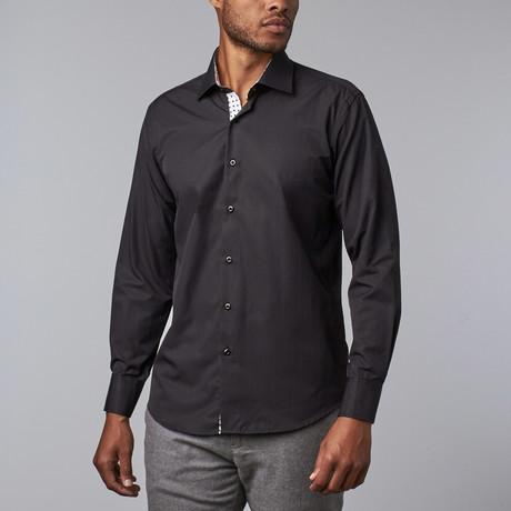 Contrast Trimmed Dress Shirt // Black