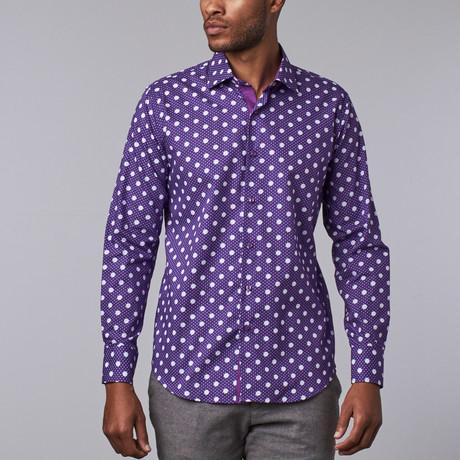 Polka Dot Dress Shirt // Purple + White