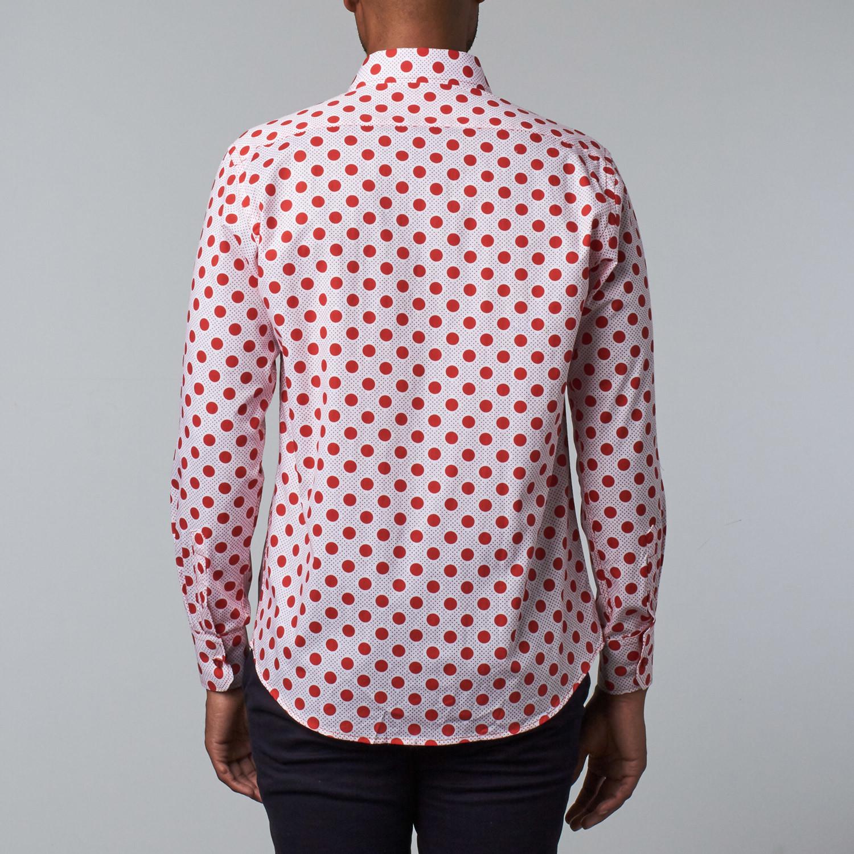 Polka dot dress shirt white red s suslo couture for White red polka dot shirt