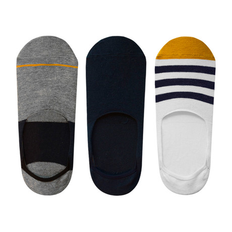 Stripe No-Show Non-Slip Sock // Pack of 6 // Red + Yellow