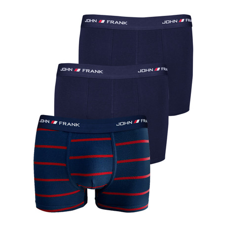 Solid Boxer Brief Pack // Set of 3 // Navy + Red