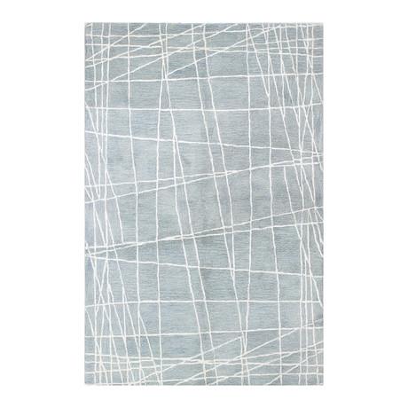 Rubix // Light Blue Wool + Viscose Rug