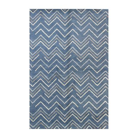 Chevron // Azure Wool + Viscose Rug